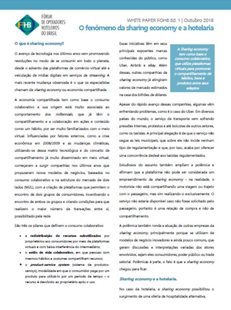 White Paper - O fenômeno da Sharing Economy e a Hotelaria